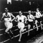 Az 5000 m-es verseny. Szilágyi, Kelen (a két esélyes), Esztergomi (a győztes), Simon és Csaplár