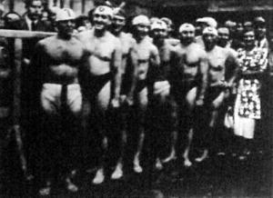 A győztes magyar vízipólócsapat. Homonnay, Bozsi, Bródy, Németh, Tarics, Sárkány, Halassy