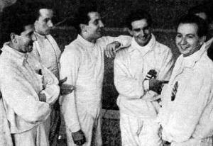 Az olimpiai bajnok magyar kardcsapat. Kabos, Kovács, Rajcsányi, Berczelly és Rajczy