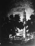 A magyar pavillon terve a párizsi világkiállításra. A magyar címerrel díszített, karcsú, magastornyú csarnokot Györgyi Dénes, műépítész tanár tervei szerint most építik fel Párizsban.