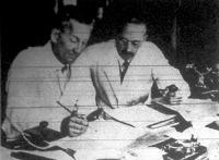 Szent-Györgyi Albert és Rusznyák István egyetemi tanárok,