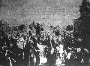 Kossuth beszél a czeglédi néphez