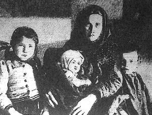 Egy magyar kivándorló család: anya és három gyermeke