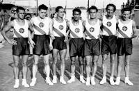 A magyar kosárlabdacsapat - Kolozs, Velkei, Nagy S., Drégely, Szamosi, Lehel, Majzik