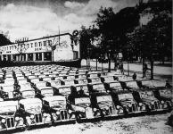 Rekord autó-vizsga Magyarországon; a D.K.V. autógyártmányoknak egy 100 darabon felüli rendőrségi forgalmi vizsgáztatása a vezérképviselet telepén.
