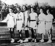 A női tenisz csapatbajnokság győztese a BEAC - Strubné, Medveczky Sári, Somogyi Klári, Szilvássy Edith, br. Gerliczy Mary, Fehér Csibi