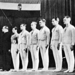 A győztes magyar tornászcsapat - Kerezsi csapatvezető, Hajdu, Sántha, Temesi, Tóth, Pataki, Börtsök, Mogyoróssy, Gaál