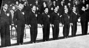 A német csapat - Müller, Ehret, Schweikert, Schafer, Nettesheim, Schmitz, Pulheim és a vezetőjük