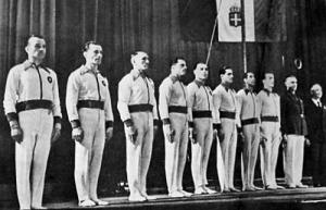 Olaszország tornászcsapata - Zanetti, Parego, Neri, Fioravanti, Armelloni, Guglielmetti, Ternelli, Amedeo, Corrias lovag csapatvezető