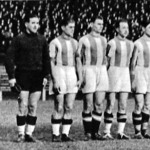 Az újpest labdarúgócsapata - Aknavölgyi, Ádám, Kalocsay dr., Győrváry, Nagymarosi, Balogh II., Kálmán, Szusza, Mészáros, Bíró, Zsengellér
