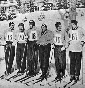 A MAC csapata a 18 km-es csapatbajnokság győztese - Hulényi, Kis, Cseh, Bellóni kapitány, Deseő dr., Harangvölgyi