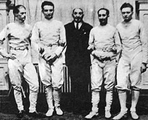 A BEAC bajnok párbajtőrcsapata - Ritter, Rerich, Gerentsér László dr. mester, Bay dr. és Berzsenyi