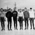 A gyorskorcsolyázó bajnokság résztvevői - Ladányi Gedeon, Szoboszlói, Ladányi Ernő, Hídvéghy, Enyedi, Kilián, Bereknyei, Payor, Brechel, Derzsy, Saáry