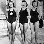 A 100 méteres hölgy mellúszás győztesei - Lőrincz Magda, Mosonyi Klári és Török Teréz