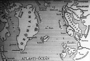 Térképünk a Szovjetunió és az angolszászok létfontosságú hajózási vonalát, az Amerika - Murmanszk közötti tengerrészt mutatja.