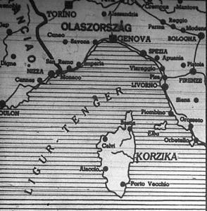 Korzika térképe