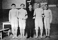 A MAC tőrvívó bajnokcsapata - Berzsenyi Barnabás dr., Gerevich Aladár, Pesthy Károly, Palóc Endre, Remsey Győző