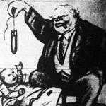 Winston Churchill angol miniszterelnök bombával kedveskedik az európai városok és falvak  gyerekeinek (karikatúra)