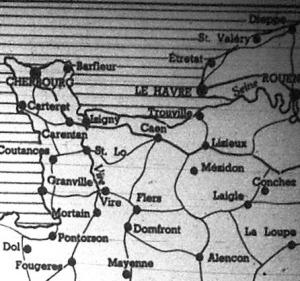 Normandia térképe. Három fontos kikötő: Cherbourg, Le Havre és a Seine-melletti Rouen nevét emlegetik sűrűn