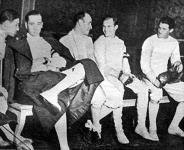 Kovács Pál, a kardverseny győztese, vívótársaival - Német, Kovács, Maszlay, Kőhegyi dr. és Kárpáti.jpg