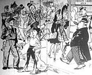 A kommunista Ludas Matyi karikatúrája a kisgazdák fővárosi győzelméről