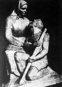 Anyai szív (Borics Pál szobrászművész alkotása a Műcsarnok téli tárlatán 1944-ben)