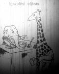 A Ludas Matyi karikatúrájának szövege: ... és mivel tudja igazolni, hogy Ön nem volt zsiráf?