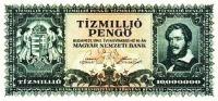 A tízmillió pengős bankjegy előoldala