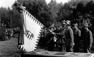 Gyalogezred zászlóavató ünnepsége. Zalaszentgrót, 1945. augusztus.jpg