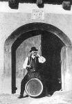 Borozó sváb férfi a pincénél, Budaörs (Úgy néz ki, hogy továbbra sem kell tartani a import borok konkurenciájától.)