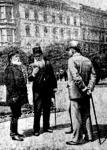 Madarász József, Hermann Ottó és Lehóczky Vilmos képviselők a Muzeum-kertben