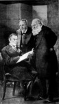 Chamberlain, Balfour és Salisbury egy minisztertanácson