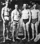 A M.U.E. staféta-úszócsapata Bécsben. Balról: Halmay, Kiss, Gräfl, Sugár