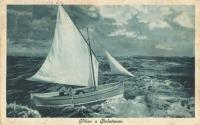 Vihar a Balatonon  -  képeslap