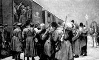 Orosz katonák indulása a japán frontra