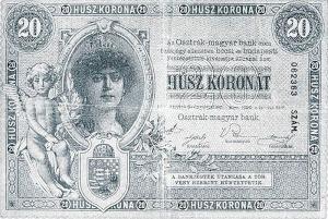 A 20 koronás bankjegy elő-...