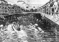 Első nyilvános vízilabda meccs
