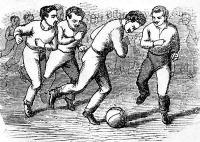 Az első hazai football ábrázolás, Molnár Lajos Atlétikai gyakorlatok című, 1879-ben megjelent könyvéből.
