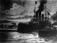 """A """"Knyaz Potyemkin"""" és torpedónaszádja Ogyessza előtt"""