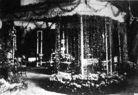 Virágkiállítás a Vigadóban. A terem bejáratánál levő nagy nyolczoldalú lugas, kúszó növényekkel