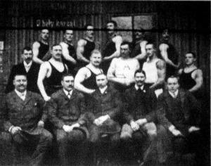 A magyar-osztrák birkózóverseny résztvevői
