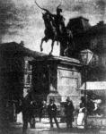 Zágráb belvárosa Jellasics bán szobrával