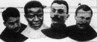 Négy kitünő sprinter-kerékpárversenyző 1907-ből: