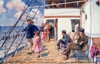 Elégedett utasok a konkurens Austro-Americana társaság hajójának fedélzetén