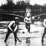 Jéghockey mérkőzés 1908. február 9-én Budapesten a BKE. es a prágai DEG. csapatok között