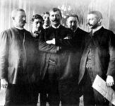 Áchim András, Schiller Ferenc és Mezőfi Vilmos a Parlamentben, 1910