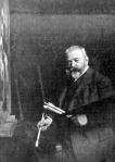 Benczúr Gyula festőállványa előtt