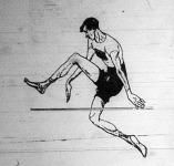 Olimpiai karikatura R.Ewreyről (USA), a helyből magasugrás bajnokáról, aki első helyét 157,5 cm.-es eredménnyel érte el.