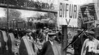 Sztrájkoló francia vasutasok 1910-ben