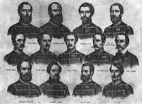 A 13 kivégzett aradi vértanú arcképe. Barabás Miklós litográfiája